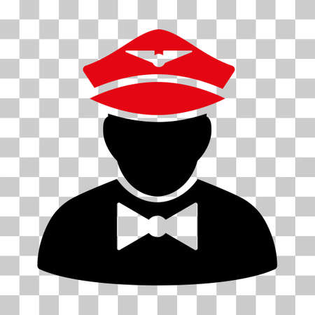 Airline Steward vector pictogram. Illustration style is flat iconic bicolor intensive red and black symbol on a transparent background.