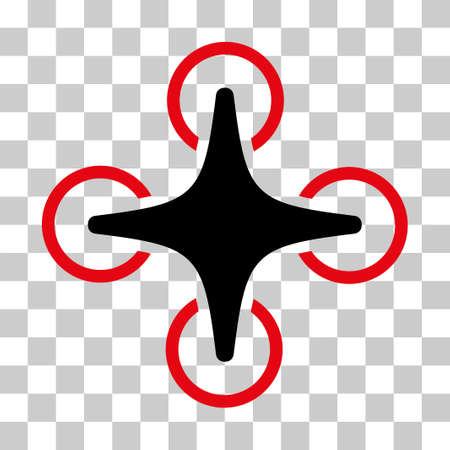 Nanocopter vector pictograph. Illustration style is flat iconic bicolor intensive red and black symbol on a transparent background.
