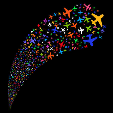 Airplane random source stream. Glyph illustration style is flat bright multicolored iconic symbols on a black background. Object fountain combined from symbols. Stock Photo