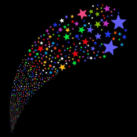 Fireworks Star random source stream. Glyph illustration style is flat bright multicolored iconic symbols on a black background. Object fountain organized from design elements.