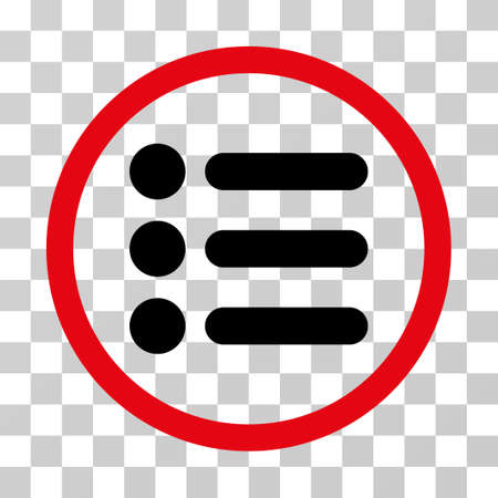Items rounded icon. Vector illustration style is flat iconic bicolor symbol inside a circle, intensive red and black colors, transparent background. Designed for web and software interfaces. Illustration