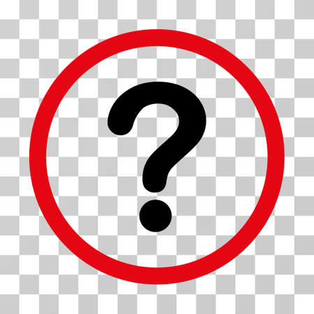 Question rounded icon. Vector illustration style is flat iconic bicolor symbol inside a circle, intensive red and black colors, transparent background. Designed for web and software interfaces. Illustration