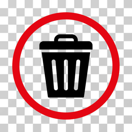 Trash Can rounded icon. Vector illustration style is flat iconic bicolor symbol inside a circle, intensive red and black colors, transparent background. Designed for web and software interfaces.