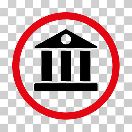 corporative: Bank rounded icon. Vector illustration style is flat iconic bicolor symbol inside a circle, intensive red and black colors, transparent background. Designed for web and software interfaces.