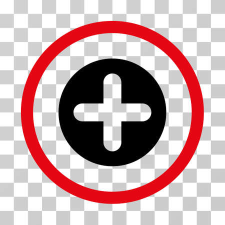 new addition: Create rounded icon. Vector illustration style is flat iconic bicolor symbol inside a circle, intensive red and black colors, transparent background. Designed for web and software interfaces.
