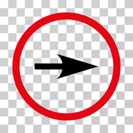 Arrow Axis X rounded icon. Vector illustration style is flat iconic bicolor symbol inside a circle, intensive red and black colors, transparent background. Designed for web and software interfaces.