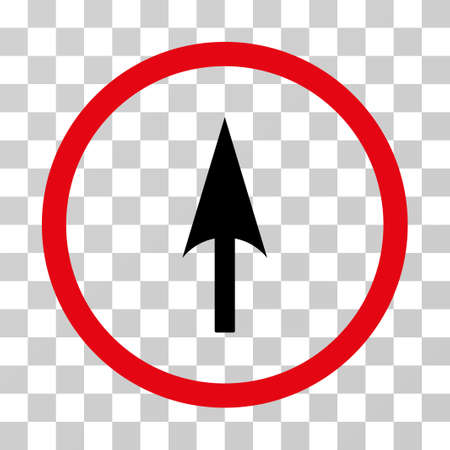 ordinate: Arrow Axis Y rounded icon. Vector illustration style is flat iconic bicolor symbol inside a circle, intensive red and black colors, transparent background. Designed for web and software interfaces.