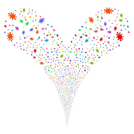 amoeba: Bacteria fireworks stream. Vector illustration style is flat bright multicolored iconic symbols on a white background. Object double fountain constructed from random pictographs.