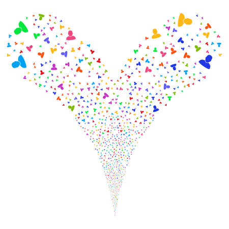 he is beautiful: User fireworks stream. Vector illustration style is flat bright multicolored iconic symbols on a white background. Object double fountain organized from random pictograms. Stock Photo