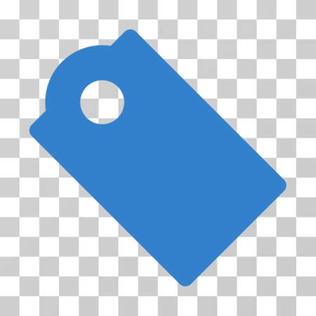 operand: Tag vector pictograph. Illustration style is flat iconic cobalt symbol on a transparent background. Illustration