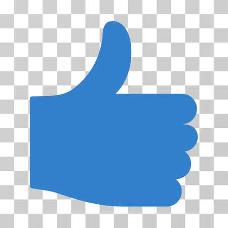Thumb Up vector pictograph. Illustration style is flat iconic cobalt symbol on a transparent background. Illustration