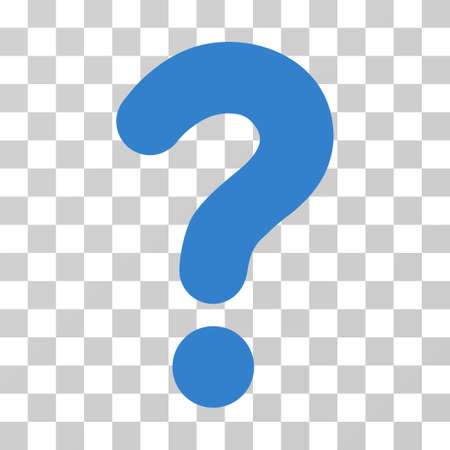 Question vector icon. Illustration style is flat iconic cobalt symbol on a transparent background.