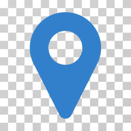 pinpoint: Map Marker vector pictograph. Illustration style is flat iconic cobalt symbol on a transparent background. Stock Photo