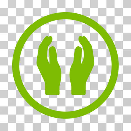Care Hands rounded icon. Vector illustration style is flat iconic symbol inside a circle, eco green color, transparent background. Designed for web and software interfaces. Illustration