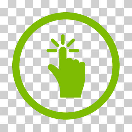 Click rounded icon. Vector illustration style is flat iconic symbol inside a circle, eco green color, transparent background. Designed for web and software interfaces.