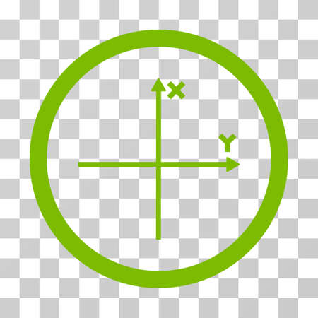 y axis: Coordinate Axis rounded icon. Vector illustration style is flat iconic symbol inside a circle, eco green color, transparent background. Designed for web and software interfaces.