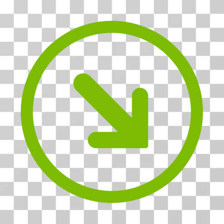 Arrow Right Down rounded icon. Vector illustration style is flat iconic symbol inside a circle, eco green color, transparent background. Designed for web and software interfaces.