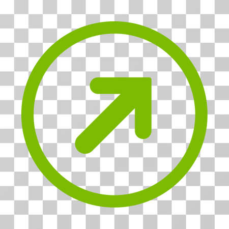 Arrow Right Up rounded icon. Vector illustration style is flat iconic symbol inside a circle, eco green color, transparent background. Designed for web and software interfaces. Illustration