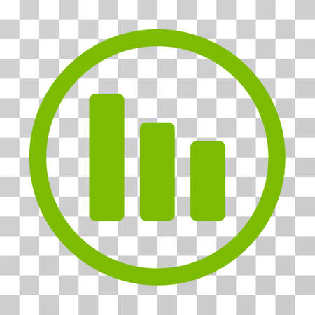 Bar Chart Decrease rounded icon. Vector illustration style is flat iconic symbol inside a circle, eco green color, transparent background. Designed for web and software interfaces.