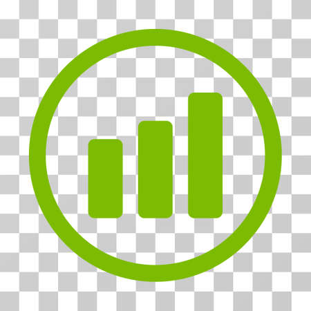 Bar Chart Increase rounded icon. Vector illustration style is flat iconic symbol inside a circle, eco green color, transparent background. Designed for web and software interfaces.