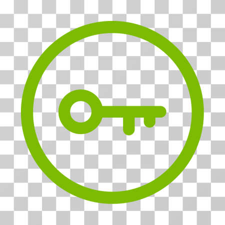 latchkey: Key rounded icon. Vector illustration style is flat iconic symbol inside a circle, eco green color, transparent background. Designed for web and software interfaces. Illustration