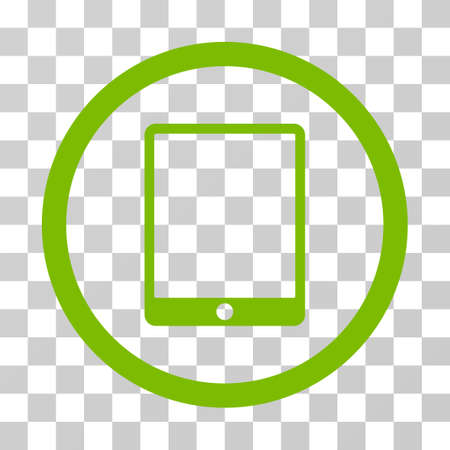 Mobile Tablet rounded icon. Vector illustration style is flat iconic symbol inside a circle, eco green color, transparent background. Designed for web and software interfaces.