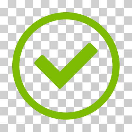 Ok icône arrondie. Style d'illustration vectorielle est symbole emblématique plat à l'intérieur d'un cercle, couleur eco vert, fond transparent. Conçu pour les interfaces Web et logicielles. Vecteurs