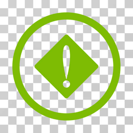 eco notice: Problem rounded icon. Vector illustration style is flat iconic symbol inside a circle, eco green color, transparent background. Designed for web and software interfaces. Illustration