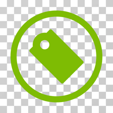 Tag rounded icon. Vector illustration style is flat iconic symbol inside a circle, eco green color, transparent background. Designed for web and software interfaces. Illustration