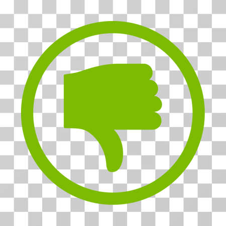 Thumb Down rounded icon. Vector illustration style is flat iconic symbol inside a circle, eco green color, transparent background. Designed for web and software interfaces.