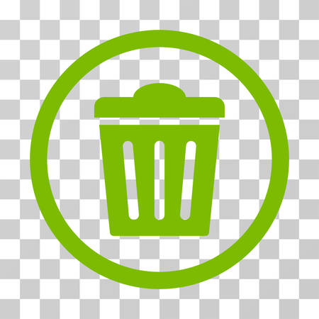Trash Can rounded icon. Vector illustration style is flat iconic symbol inside a circle, eco green color, transparent background. Designed for web and software interfaces. Illustration