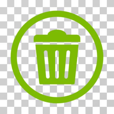 Trash Can abgerundet Symbol. Vektor-Illustration Stil ist flach ikonische Symbol in einem Kreis, eco grüne Farbe, transparentem Hintergrund. Entwickelt für Web- und Software-Schnittstellen.