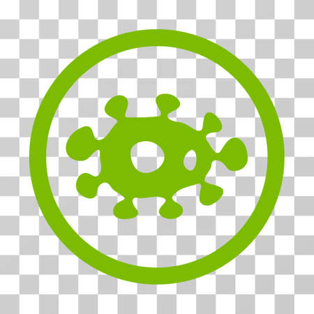 Virus rounded icon. Vector illustration style is flat iconic symbol inside a circle, eco green color, transparent background. Designed for web and software interfaces. Illustration
