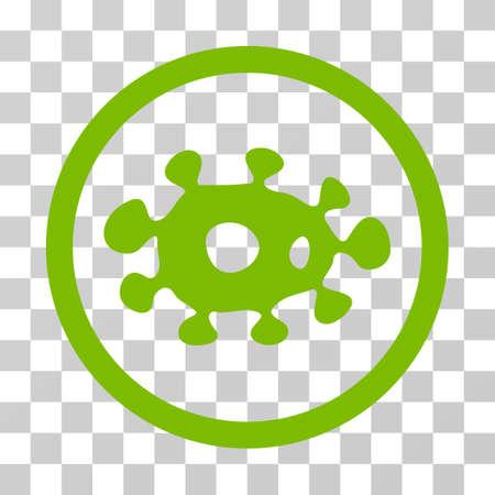 ameba: Virus redondeado icono. El estilo de la ilustración del vector es símbolo icónico plano dentro de un círculo, color verde del eco, fondo transparente. Diseñado para interfaces web y software.