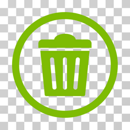 Trash Can rounded icon. Vector illustration style is flat iconic symbol inside a circle, eco green color, transparent background. Designed for web and software interfaces. Stock Photo