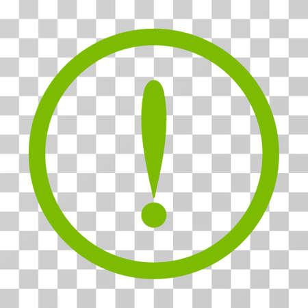 Icône arrondie de signe d'exclamation. Le style d'illustration vectorielle est le plat emblématique dans un cercle, une couleur vert éco, un fond transparent. Conçu pour les interfaces Web et logicielles. Banque d'images