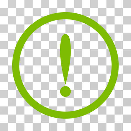 Exclamation Sign rounded icon. Vector illustration style is flat iconic symbol inside a circle, eco green color, transparent background. Designed for web and software interfaces. Archivio Fotografico