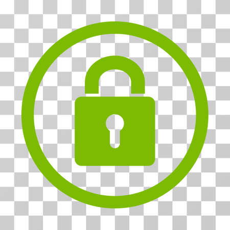 Lock Keyhole rounded icon. Vector illustration style is flat iconic symbol inside a circle, eco green color, transparent background. Designed for web and software interfaces.
