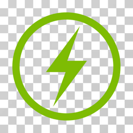 Electricity Symbol rounded icon. Vector illustration style is flat iconic symbol inside a circle, eco green color, transparent background. Designed for web and software interfaces.