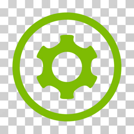 Gear rounded icon. Vector illustration style is flat iconic symbol inside a circle, eco green color, transparent background. Designed for web and software interfaces. Stock Photo