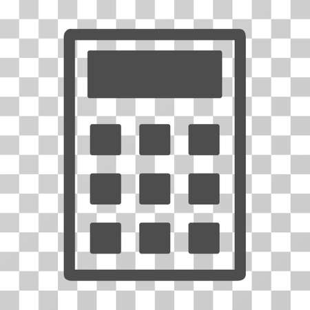 compute: Calculator icon. Vector illustration style is flat iconic symbol, gray color, transparent background. Designed for web and software interfaces. Illustration
