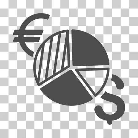 pie chart icon: Currency Pie Chart icon. Vector illustration style is flat iconic symbol, gray color, transparent background. Designed for web and software interfaces.