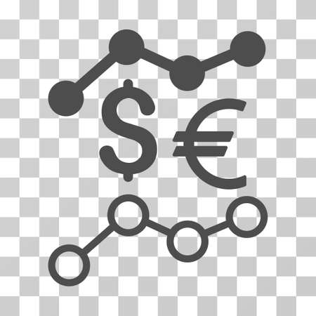 Currency Trends icon. Vector illustration style is flat iconic symbol, gray color, transparent background. Designed for web and software interfaces.