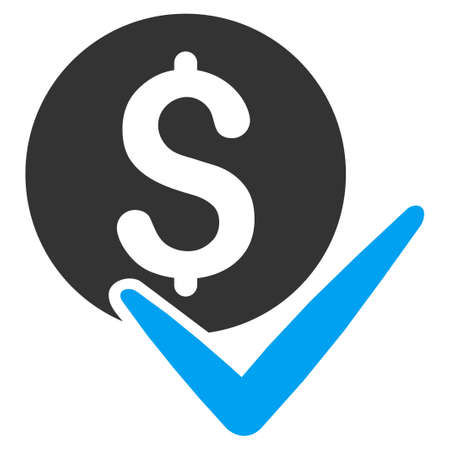 Accept Payment glyph pictograph. Illustration style is a flat iconic bicolor blue and gray symbol on white background. Stock Photo