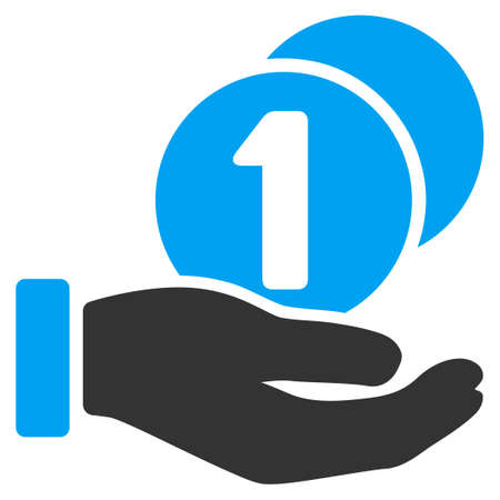Coins Payment Hand glyph pictogram. Illustration style is a flat iconic bicolor blue and gray symbol on white background.