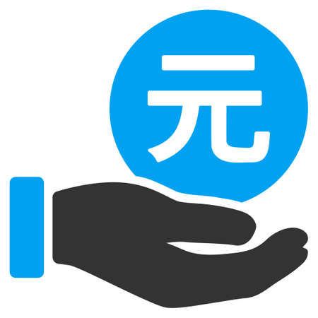yuan: Yuan Coin Payment Hand vector pictograph. Illustration style is a flat iconic bicolor blue and gray symbol on white background.