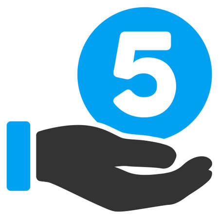 five cents: Five Cents Payment Hand vector icon. Illustration style is a flat iconic bicolor blue and gray symbol on white background. Illustration