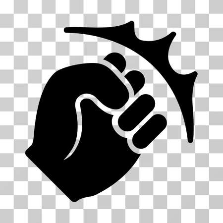Fist Strike icon. Vector illustration style is flat iconic symbol, black color, transparent background. Designed for web and software interfaces.