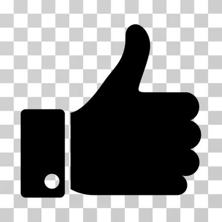 Thumb Up icon. Vector illustration style is flat iconic symbol, black color, transparent background. Designed for web and software interfaces.