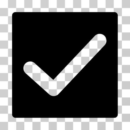 proceed: Check icon. Vector illustration style is flat iconic symbol, black color, transparent background. Designed for web and software interfaces.